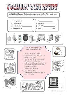 Yoghurt cake recipe - ESL worksheet by cladelol
