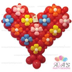 Embellished Heart Balloon Sculpture. #partywithballoons