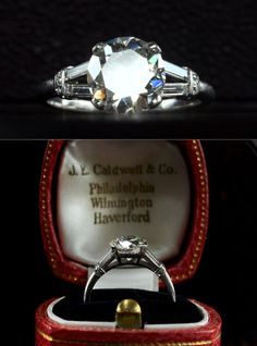 1930s Art Deco J.E. Caldwell 2.09ct Transitional Cut Diamond (GIA I/Si1) Engagement Ring, Diamond Baguette and Single Cut Sides, Platinum, $23,995