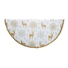 54 Ivory and Antique Gold Reindeer Snowflake and Filigree Star Burst Christmas Tree Skirt -- Continue to the product at the image link.