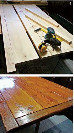 tavolo di legno autocostruito