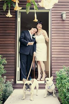 Two of the sweetest looking French Bulldogs | Annie Laurie Photographics #wedding #pets
