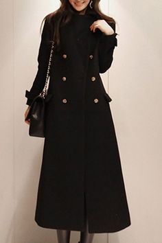 Fashionable Turn-Down Collar Long Sleeve Double-Breasted Women's Maxi Coat