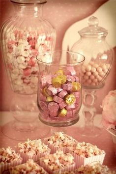 Pink candy in clear vases