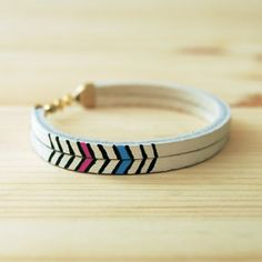 "Leather Bracelet in White with Pink and Blue Chevron Pattern, ""The Pecos Handpainted"" $28"