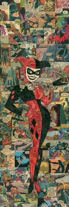 Giclee print of my comic collage representation of Harley Quinn, as originally done (and created) by the amazing Bruce Timm for. Bruce Timm, Catwoman, Comic Books Art, Comic Art, Joker Comic, Comic Collage, Joker Y Harley Quinn, Es Der Clown, Gotham Girls