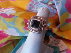 Authentic TIFFANY & CO. Sterling Silver 925 Onyx Square Cushion Ring - Size 5 $249