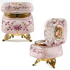 ANTIQUE VICTORIAN PINK ENAMEL GLASS HINGED TRINKET jewelry BOX casket GILD GOLD | eBay