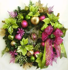 Christmas Holiday Autumn Winter Lime Green Pink by WreathbyHH, $89.95