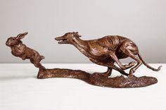 #Bronze #sculpture by #sculptor Amy Goodman titled: 'Lurcher and Hare (Little Bronze Chase sculpture/statuette/figurine)'. #AmyGoodman