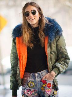 On Chiara Ferragni: Mr & Mrs Italyjacket; Customised GDCS jeans, shop similar style.