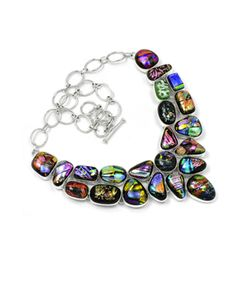 Cluster Necklaces are spectacular and a great way to add a Dash of Exotic to those Dresses. This gorgeous cluster necklace features colorful Dichroic Glass ston