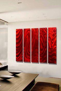 e9b4b9fbb17 Red Hypnotic Sands Epic - Red Five Panel Modern Metal Wall Art by Jon Allen  - 64
