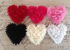 Shabby hearts are the cutest additions to your crafting projects! Use them for headbands, embellishing clothing. They can be sewn or glued.  These are from Frogfeathers on Etsy.  Awesome!