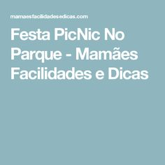 Festa PicNic No Parque - Mamães Facilidades e Dicas