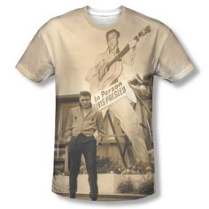 0ab429c340360 Elvis Presley Large then Life in person Sublimation ALL OVER Vintage T-shirt  top Mens