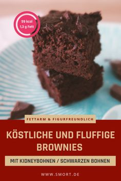 Recipe for delicious fluffy brownies with beans (kidney beans or black beans you will not taste the beans!) low-fat gluten-free & no white sugar # sugar-free # diet The post Healthy brownies without sugar appeared first on Win Dessert. Brownie Low Carb, Vegan Brownie, Brownie Recipes, Chewy Brownies, Healthy Brownies, Protein Brownies, Brownies Sains, Desserts Sains, Black Bean Brownies
