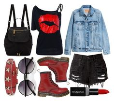 Rock festival chick by slytheriner on Polyvore featuring H&M, Dr. Martens, Marc Jacobs, RED Valentino, ZeroUV and Smashbox Rock Festivals, Concerts, Marc Jacobs, Valentino, Polyvore, Outfits, Fashion, Fashion Styles, Moda