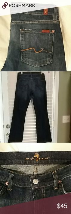 7 For All Mankind Jeans Gently worn and in excellent condition! Dark blue with slight fade on front thighs and rear, with a crease line along the back of legs (style was intentionally made this way). Size 29 with inseam of 30 7 for all Mankind Jeans Boot Cut