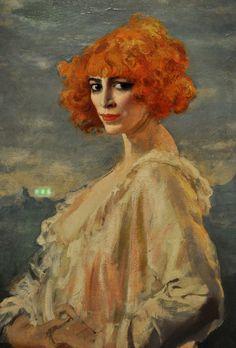 La Marchesa Casati by Augustus Edwin John, 1919, Art Gallery of Toronto, detail