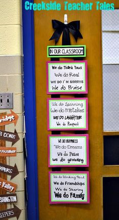 not this saying, but nice idea for the door.  Might be good to use white board markers on a picture frame for reminders to students (test day / what homework is due)
