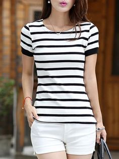 Summer Cotton Women Round Neck Striped Short Sleeve T-Shirts-Berrylook Simple Outfits, Casual Outfits, Fashion Outfits, Pakistani Dresses Party, Kurta Designs Women, Blouse Styles, Bollywood Fashion, Striped Shorts, Blouses For Women