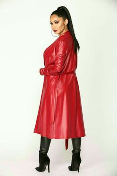 Ready For Anything Coated Jacket - Red – Fashion Nova Red Fashion, Leather Fashion, Trent Coat, Long Leather Coat, Leather Trench Coat Woman, Leather Jackets, Latex Dress, Coats For Women, Red Lingerie