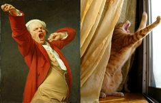 "Cat imitating art.Joseph Ducreux, ""Self Portrait Yawning"" (1780)"