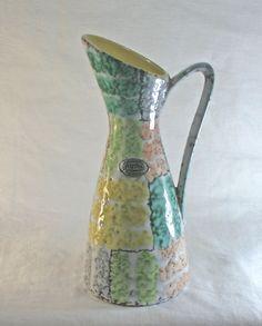 Jasba Keramic Pottery Vase with Handle 1960's Geometric Modernist Design in Pottery & Glass, Pottery & China, Art Pottery | eBay