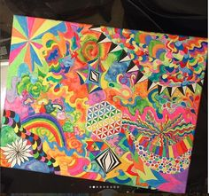 painting trippy neon drawings colorful acid hippie