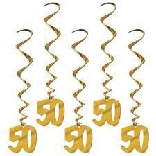 Throwing a 50th wedding anniversary party get all the supplies 50th anniversary gold foil hanging whirl decorations 3 ft 5 ct junglespirit Image collections