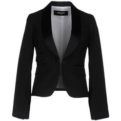 Dsquared2 Blazer ($1,100) ❤ liked on Polyvore featuring outerwear, jackets, blazers, black, dsquared2 jacket, single breasted jacket, stretch blazer, long sleeve jacket and 1 button blazer