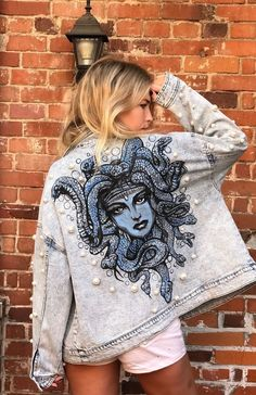 Excited to share this item from my shop: Hand painted denim jacket - medus. - Excited to share this item from my shop: Hand painted denim jacket – medusa – pearl beaded Source by - Painted Denim Jacket, Painted Jeans, Painted Clothes, Hand Painted, Diy Clothing, Custom Clothes, Rock Clothing, Unique Clothing, Modest Clothing