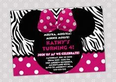 Minnie Mouse Birthday Invitation - Minnie Mouse Birthday Invite - Zebra Background -  Digital File. $5.50, via Etsy.