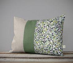 LIMITED EDITION: Green Autumn Floral Liberty Print Pillow by JillianReneDecor | Decorative Home Decor | Ninataylor D Tana Lawn | Botanical