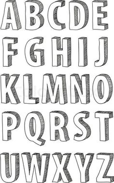 Fonts Alphabet Discover 30 Bullet Journal Font Ideas you must see! Looking for a way to spice up your Bullet Journal? Learn everything about bullet journal fonts and how to improve your hand writing. Hand Lettering Alphabet, Doodle Lettering, Creative Lettering, Block Lettering, Doodle Alphabet, 3d Typography, Bullet Journal Fonts Hand Lettering, Handwriting Fonts Alphabet, Doodle Fonts