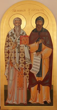Sts Methodius & Cyril - Equal to the Apostles / Whispers of an Immortalist: Icons of the Venerables 2 Religious Images, Religious Icons, Religious Art, Byzantine Icons, Byzantine Art, Early Christian, Christian Art, Roman Church, Russian Icons