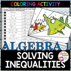 Solving Inequalities Coloring Activity Students will solve 18 algebraic inequalities which become progressively more challenging: one-step, two-step, multi-step and variables on both sides. Algebra Activities, Maths Algebra, Color Activities, Math Resources, Homeschool Worksheets, Homeschooling, Math Teacher, Math Classroom, Teaching Math