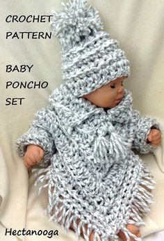 Baby crochet pattern, baby poncho set, crochet baby sweater, hat and poncho, #2054 , crochet for baby, childrens clothing CLICK HERE TO ENTER MY ETSY PATTERN STORE: https://www.etsy.com/shop/hectanooga This pattern is available for $5.50 USD CROCHET PATTERN, BABY PONCHO SET, HAT AND