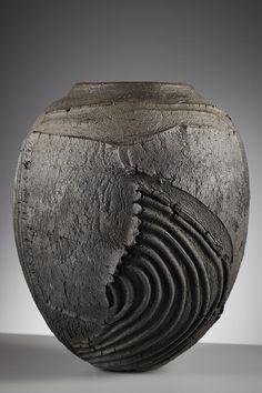 Patricia Shone Ceramics Erosion Jar 35 'hill rigs' Related posts: No related posts. Pottery Handbuilding, Raku Pottery, Pottery Sculpture, Ceramic Sculptures, Thrown Pottery, Slab Pottery, Organic Ceramics, Modern Ceramics, Contemporary Ceramics