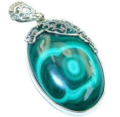 $81.55 Vintage+Style+Green+Malachite+Oxidized++Sterling+Silver+handmade+Pendant at www.SilverRushStyle.com #pendant #handmade #jewelry #silver #malachite