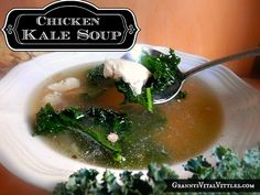 Recipes for Down Home Granny Cooking with real food nutrition firmly in mind. Kale Recipes, Healthy Soup Recipes, Real Food Recipes, Chicken Kale Soup, Paleo Soup, Different Recipes, Food Nutrition, Cooking, Ethnic Recipes