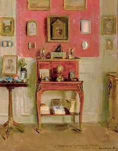 stilllifequickheart: Walter Gay Interior Late..painting of an interior I would like to copy...strip of paint on T V wall....or fire place wall