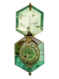 Part of the Cheapside Hoard, an emerald with a clock mechanism inside. Quite exquisite. Museum of London