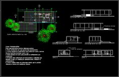 Farnsworth house, plano, il., u s a, by mies van der rohe, 1951 (dwgAutocad drawing)
