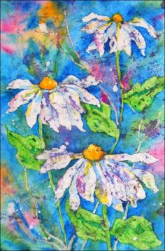 """""""Watercolor batik"""" is an amazing technique that combines melted wax and watercolors on rice paper. Instructions are given at this site."""