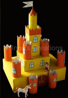 Inna's Creations: Make a cardboard castle using discarded boxes and toilet paper rolls (toilet paper roll crafts rocket) Kids Crafts, Projects For Kids, Diy For Kids, Art Projects, Stem Projects, Science Projects, Cardboard Box Castle, Cardboard Crafts, Toy Castle