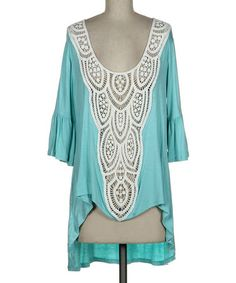 Another great find on #zulily! Mint & White Sheer Crocheted Hi-Low Tunic #zulilyfinds