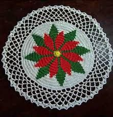Poinsettia Doily Pattern ~ Free Crochet Patterns I've made this one, but changed the outer edge into pineapples.One of the first free patterns I made from the Net is the Poinsettia doily below. I modified the pattern at the end and added a few rows t. Crochet Thread Patterns, Christmas Crochet Patterns, Holiday Crochet, Crochet Designs, Crochet Ornaments, Crochet Snowflakes, Tatting Patterns, Crochet Books, Crochet Crafts