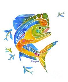 Art Prints of Mahi Saltwater Dolphin Fish by Artist Jo Lynch. All sizes and materials for the prints.